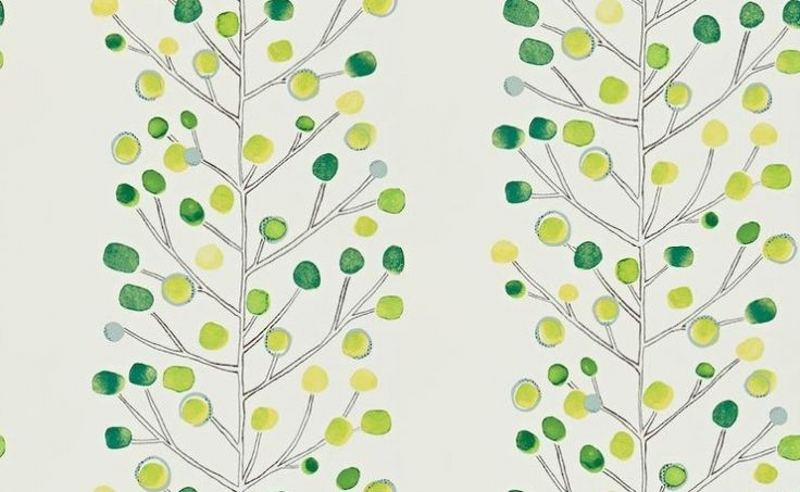 Berry Tree (110206) - Scion Wallpapers - This contemporary tree design has hand painted shades of green coloured dots off on finely detailed branches showing on a off white background. Other colour ways available. Please request a sample for true colour match. Paste-the-wall.