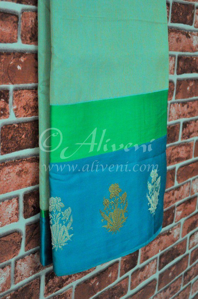 Sea Green Banarasi Handloom Saree with Silk boders & brocade motifs