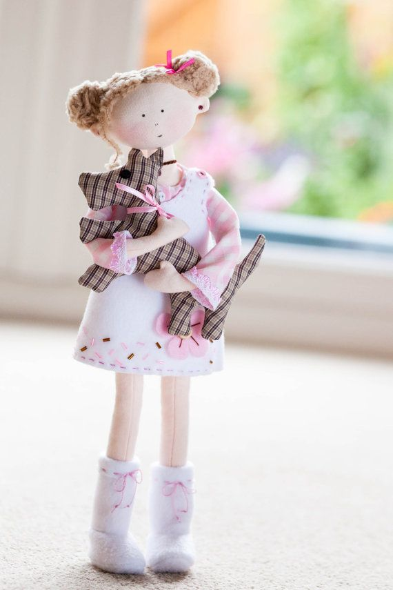 Minty Rag Doll with a Dog-Home Decor-Quality Cloth Doll-Posable OOAK Art Doll-Interior Doll-White/Pink/Cute/Sweet-Romantic Keepsake-UK