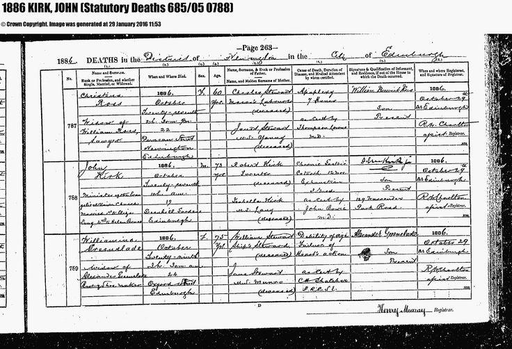 Death Certificate of John Kirk, 27 October 1886, Edinburgh