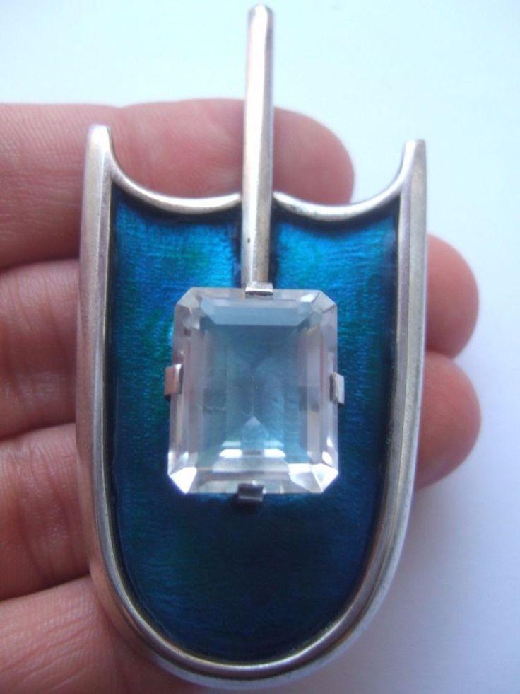 "vintage david andersen sterling silver enamel pendant ""magical mirror"" norway"
