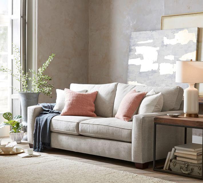 PB Comfort Square Arm Upholstered Sofa in 2021   Upholstered sofa, Pottery barn living room sofa ...