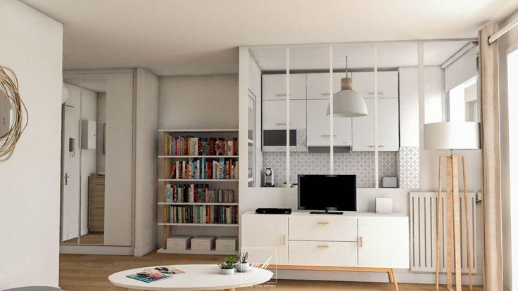 Le projet de #cuisine de ce studio est finalisé par une verrière permettant à la lumière de circuler dans tout l'espace.