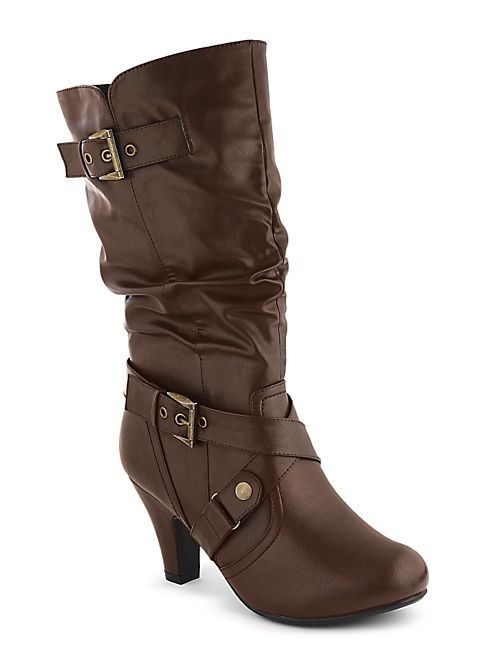 Wide Calf Heeled Buckle Boot: Dots.com: Calf Heels, Buckle Boots, Boots Size, Wide Calf, Heels Buckles, Cowboys Boots, Buckles Boots, Boots Scootin, Boots 28 00