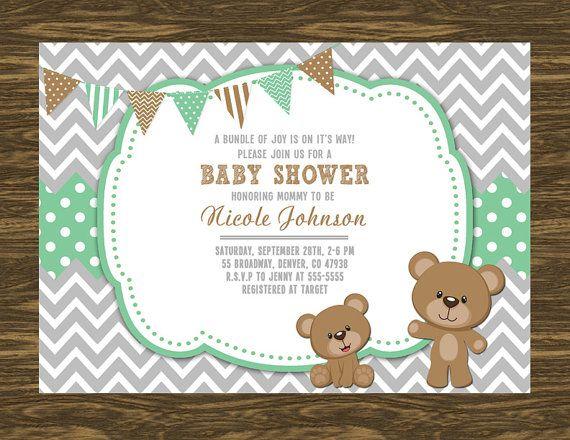 Osito bebé ducha invitación para imprimir gratis por SweetGumdrop