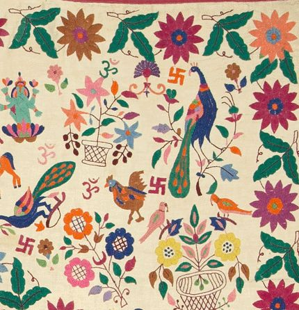 Door hanging (detail), Saurashtra (Kathiawar), Gujarat, India, 1960–70, Rabari community, possibly Machhukatha Rabari; floss silk embroidery on plain-weave cotton, 64 by 90 inches. Gift of Sherry Shorthouse, Textile Museum of Canada.