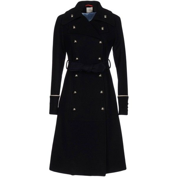 ..,merci Coat (£234) ❤ liked on Polyvore featuring outerwear, coats, dark blue, wool trench coats, double-breasted wool coat, double breasted coat, woolen trench coat and lapel coats