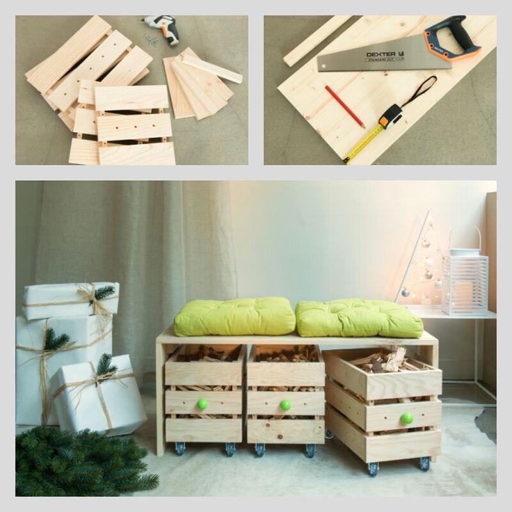 DIY : Réaliser un banc en bois avec des rangements à roulettes #leroymerlin #diy #tuto #makeit #banc #bois #ideedeco #madecoamoi