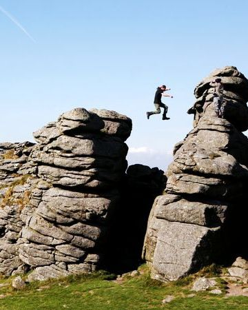 Hound Tor, a granite outcrop in Dartmoor National Park, is popular with hikers—and the more adventurous. Photograph by Marc-Oliver Schulz, laif/Redux