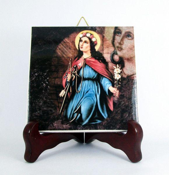 Fliesen & Kacheln - St Philomena von Rom katholischen Ikone Fliese - ein Designerstück von terrytiles2014 bei DaWanda