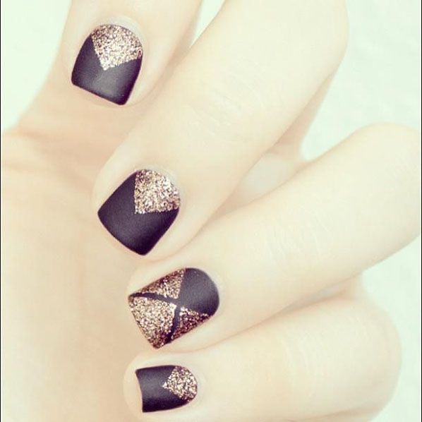 Matte black and gold glitter #nails