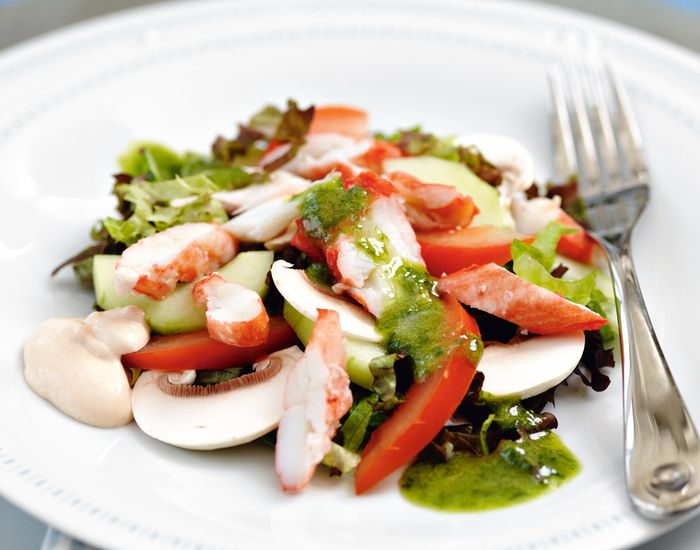 Nydelig og enkel salat med kongekrabbe - Tara