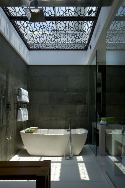 Love the tub and the skylight fixture.