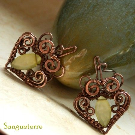 Kandeia * magic earrings  * yellow chalcedony, copper  * wire wrap * wirewrapping * wire artisan * handmade * wire * work * wirewrapped * wired