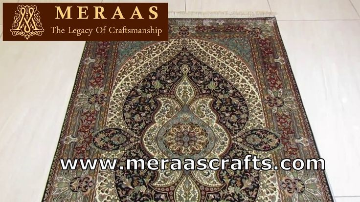 Persian hand knotted handmade Kashmir silk carpet 576 knots per sq. inch Rug 4 x 6 ft No-5941