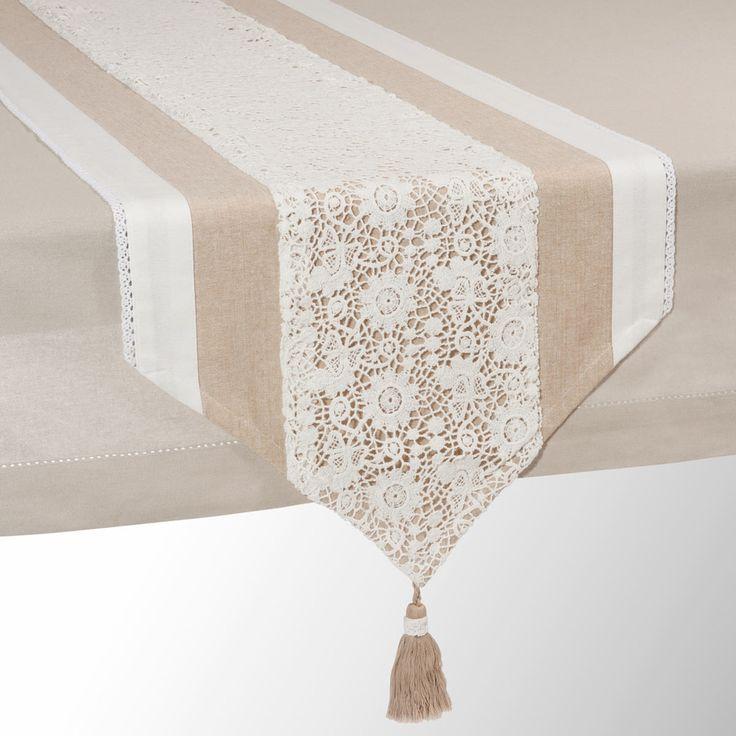 Runner da tavolo beige in cotone L ...