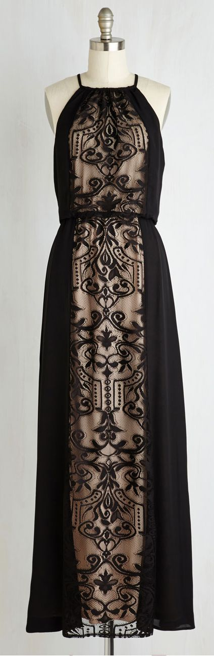 embroidered mesh panel maxi dress