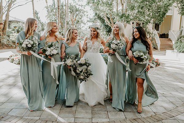 Olive Green Bridesmaid Dresses Boho