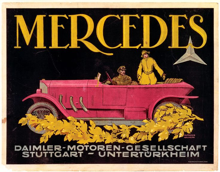 The 28/95 hp Mercedes was built in 1914/15 and again between 1920 and 1924. At that time it was the flagship model of Daimler-Motoren-Gesellschaft. Its engine shared significant design features with the Daimler aircraft engines. The 28/95 hp model was the first Mercedes to be equipped as standard with a pointed radiator grille and external exhaust pipes. This poster advertised the 28/95 hp model in the Phaeton version of 1921.