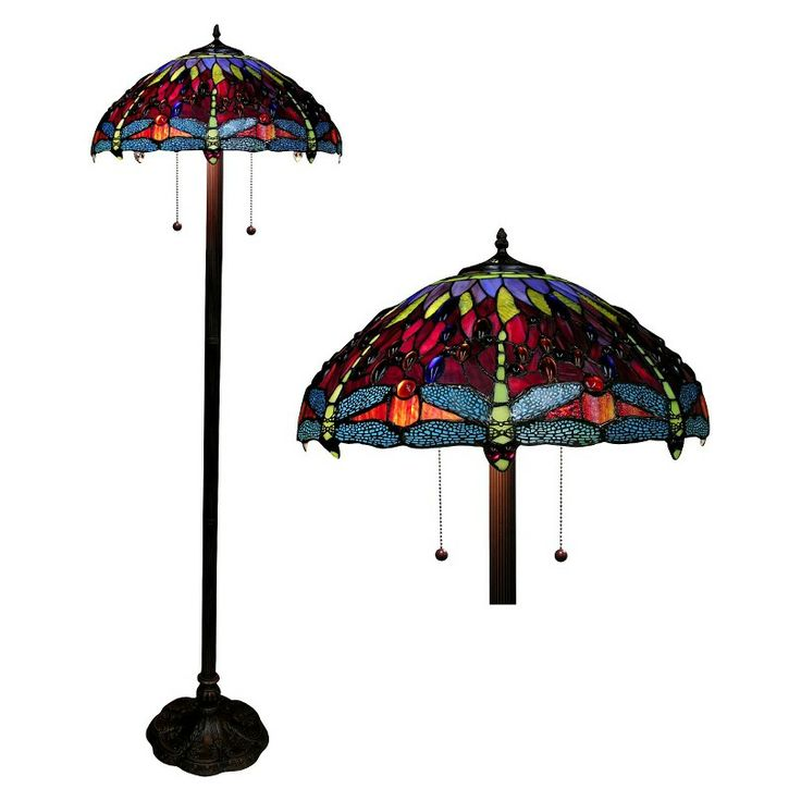 tiffany style dragonfly floor lamp amber. Black Bedroom Furniture Sets. Home Design Ideas