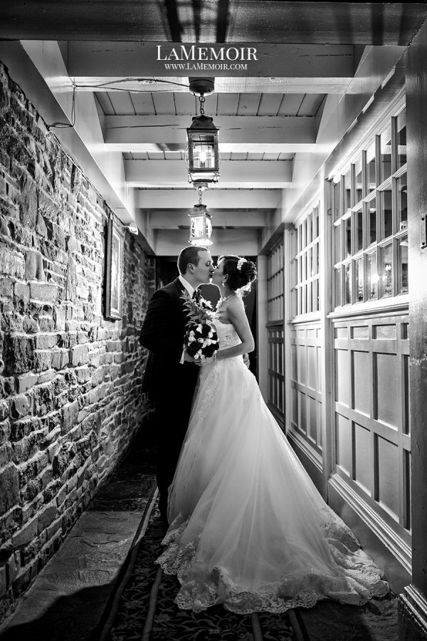 Classic wedding in rustic style. Old Mill Inn Toronto. LaMemoir Toronto Wedding photography. Black and white wedding photo. The hallway sets the mood for their love story to tell for generations. #toronto #wedding #photographer #torontoweddingphotographer #oldmillinn #rusticwedding #rustic #blackandwhite #lamemoir