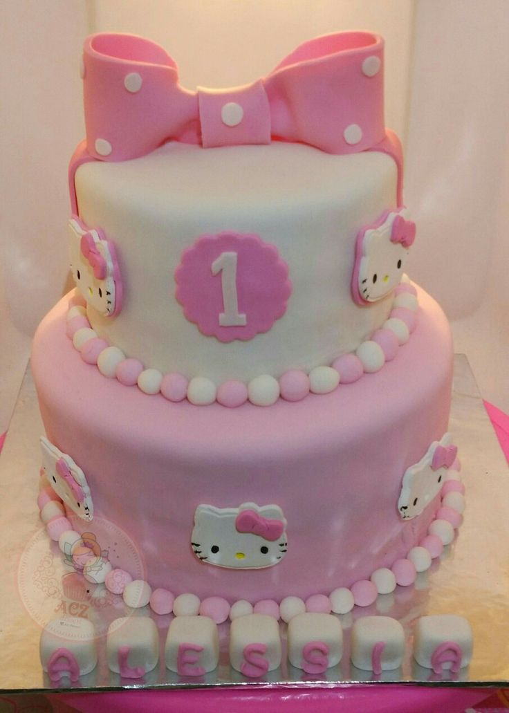 Simple but sweet hello kitty tier cake