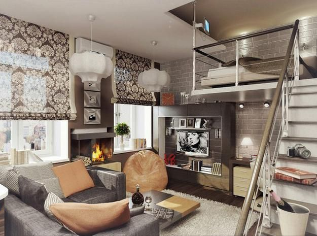 modern interior design with high ceilings and lofts