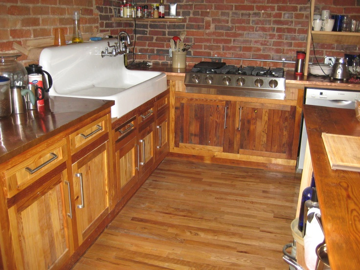 Kitchen With Antique Sink Cabinets Made From Antique Pine