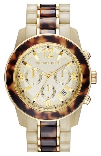 Michael Kors 'Preston' Two Tone Chronograph Bracelet Watch available at Nordstrom