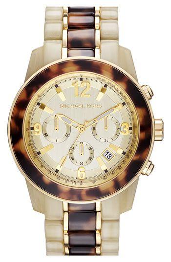 Michael Kors 'Preston' Two Tone Chronograph Bracelet Watch