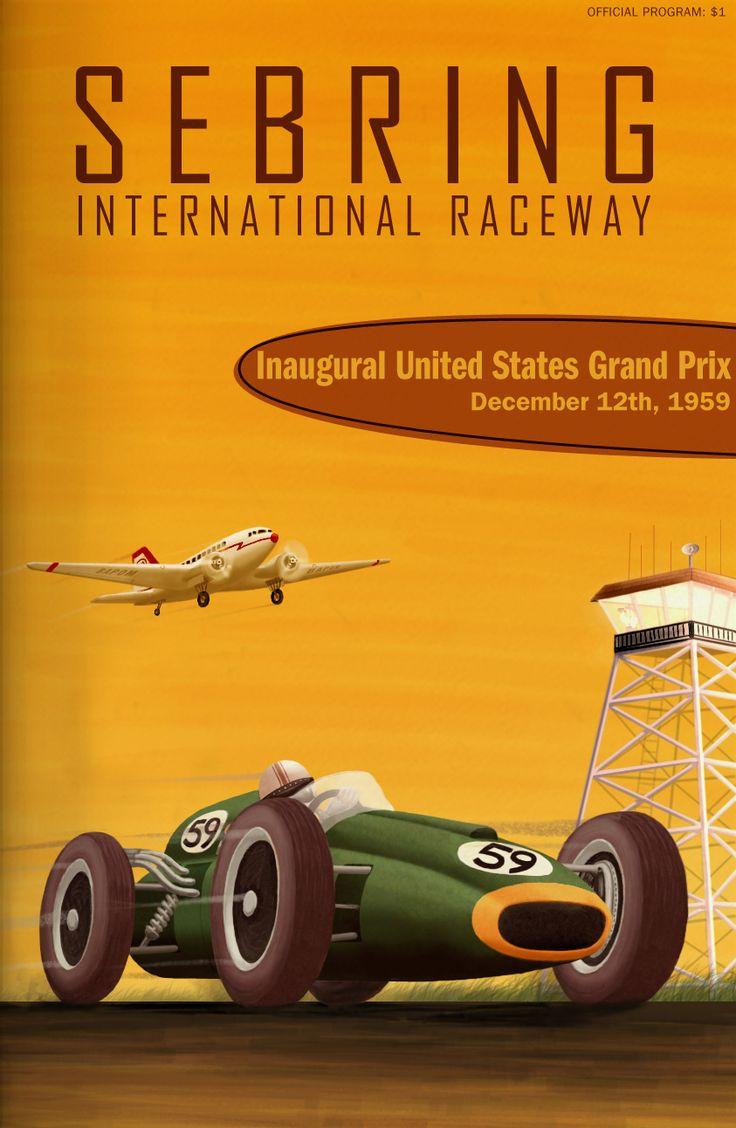 United States Grand Prix (1959) Gran Premio de Fórmula 1 de Estados Unidos (USA) #F1 Poster #cartel #vintage