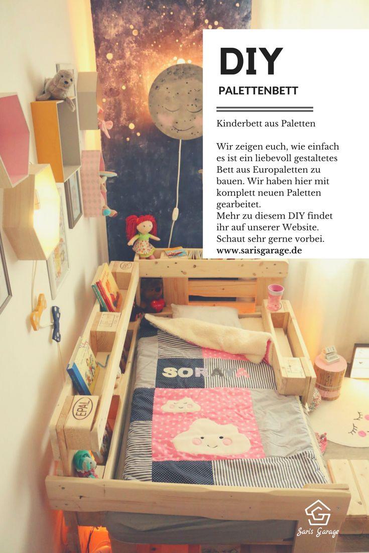 Kids bed pallets How to: Kinderbett aus Europaletten, Palettenbett, Bett selber bauen, Bett aus Europaletten, Upcycling, wohnen, selbermachen, selberbauen, DIY, Doityourself