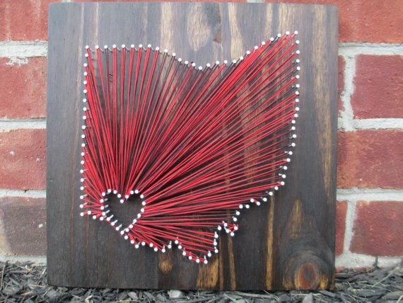 String Art State, Any State, Ohio State Buckeyes, Home is Where the Heart Is, Nail and String Art, 2 Colors on Etsy, $55.00