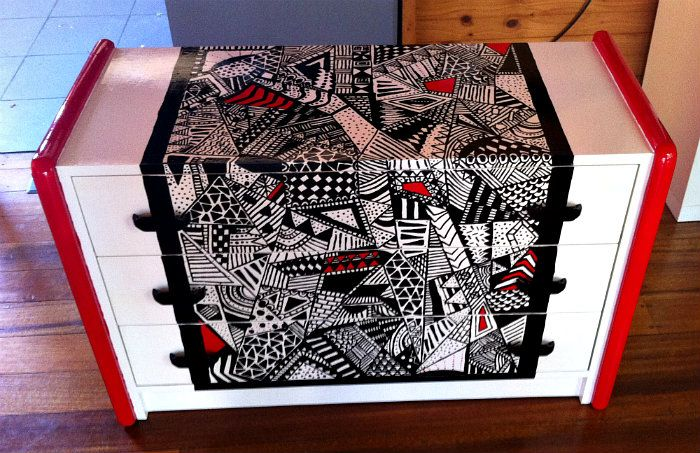 Functional Furniture-Art:  I love old vintage furniture and love painting it bright modern funky colours. This is my latest painted furniture design.  This is a small children's sized chest of drawers. I was inspired to create an abstract design in black and white with a pop of bright red. Also love the Zentangle doodling so gave it a try as well. This sold via eBay under Bronwen5518. Check out my latest ideas on my Facebook Page: Bronnie Brasch Designs.