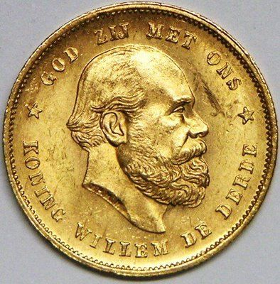 Netherlands Willem III Gold 1879 10 Gulden