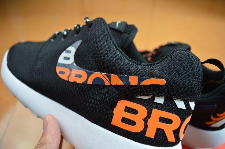 New Release Nike Roshe Running Denver Broncos Black Orange Shoes Men Women Kids