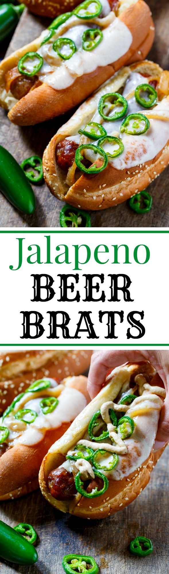 Jalapeno Beer Brats with Melted Swiss cheese and caramelized onions. Grilled to perfection! #sponsored #sausagefamily