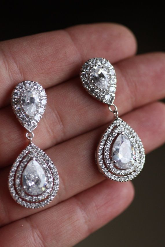 Bridal Crystal Drop Earrings Wedding Jewelry Swarovski Chandelier Kim Kardashian Cubic Zirconia Tear In 2019 Bride