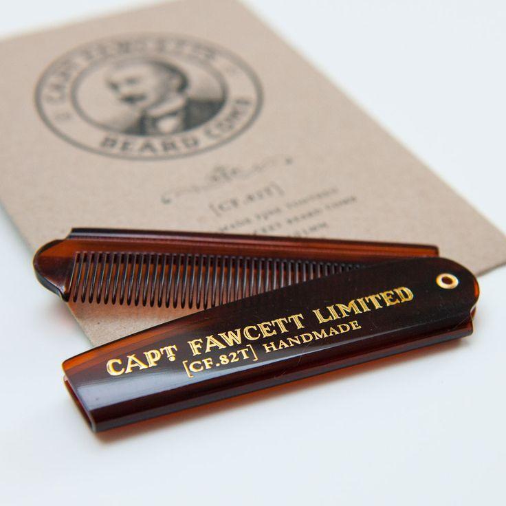 Captain Fawcett's Folding Pocket Beard Comb (Length 193mm)