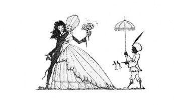 Иллюстрация пара с сопровождающим используется для завершения сказку Гарри Кларк (Художник) от: Сказки Шарля Перро - 1922