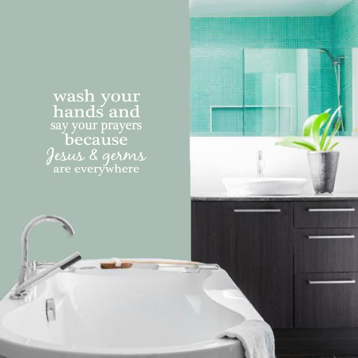 Wash Your Hands And Say Your Prayers - Bathroom Laundry Room Quotes Wall Decals #SweetumsWallDecals