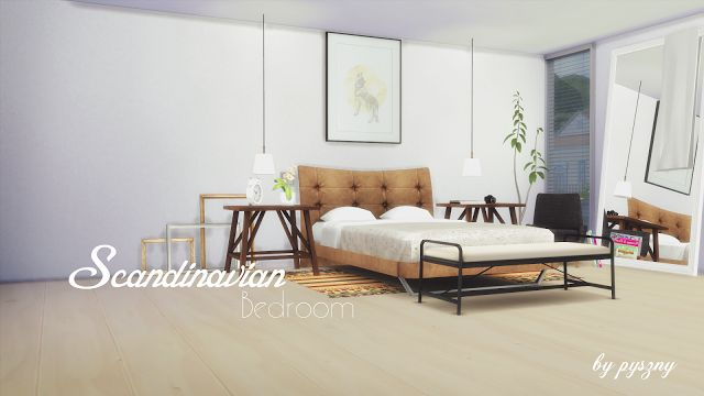 Sims 4 cc 39 s the best scandinavian bedroom set by pyszny for Bedroom designs sims 4