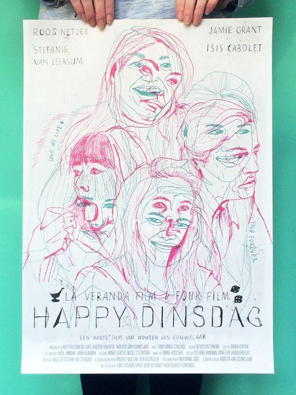 Film poster for Happy Dinsdag by Wouter van Couwelaar / Made by Marianne Lock / www.maryandthelocks.nl