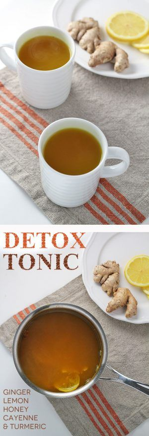 Detox tonic with ginger, lemon, honey, cayenne, and turmeric to support the body's detoxification.