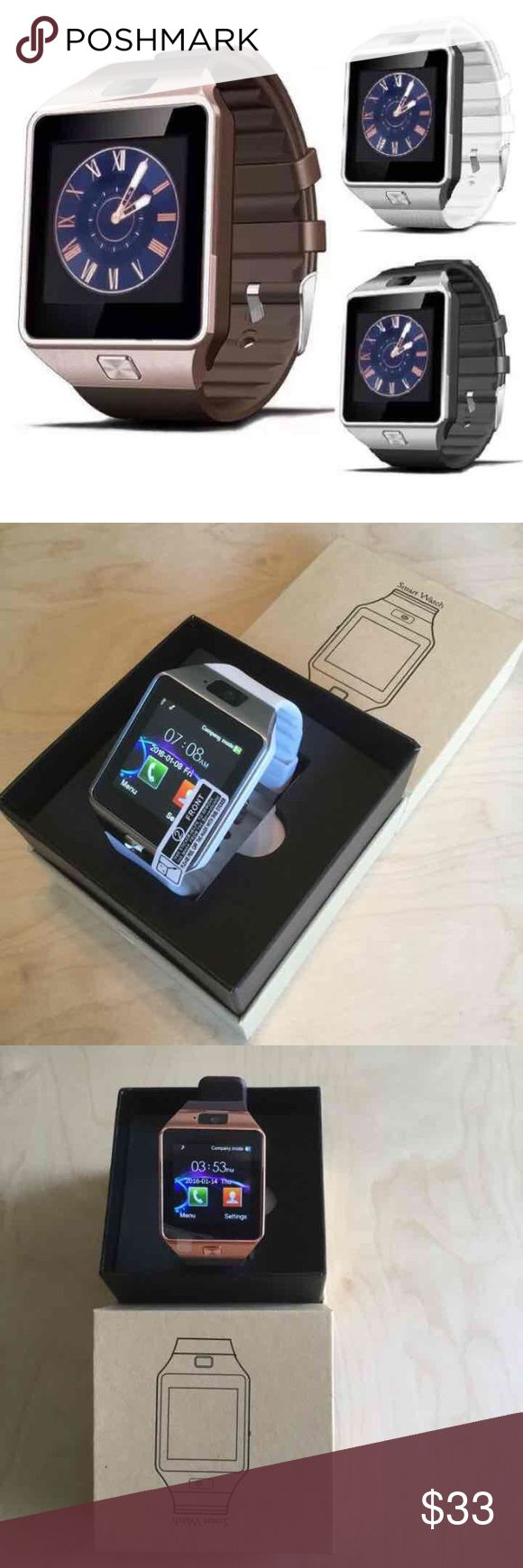 Any Camera Smart Watch SIM optional NEW in Box! Smart watch like Samsung Gear 2 with camera and SIM slot. Colors: Silver with black strap, Gold with brown strap, silver with white strap, and black with black strap(this color no box). New in box bluetooth smartwatch Android (including Samsung ), and iOS (including iPhone ) compatible. Please message me your choices. unlocked Accessories Watches