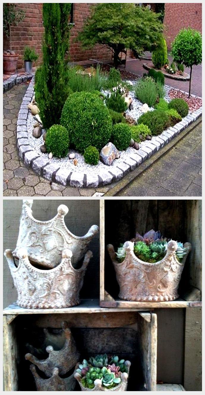 Bett Mit Pflanzen Und Steinen Bett Mit Steinen Kunstrasen Garten In 2020 Kunstrasen Garten Pflanzen Garten