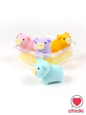 Pig Box Eraser Set - Iwako - Iwako Pig Box Set Erasers - Chicki - Kawaii wonderland. Cute fashion accessories and gift store ----====++++====----