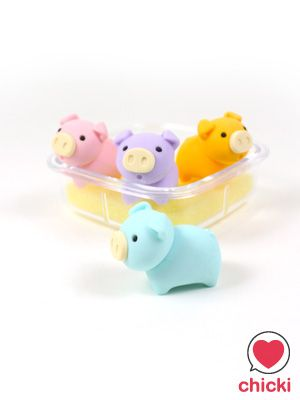 Pig Box Eraser Set - Iwako - Iwako Pig Box Set Erasers - Chicki - Kawaii wonderland. Cute fashion accessories and gift store ----====++++====----