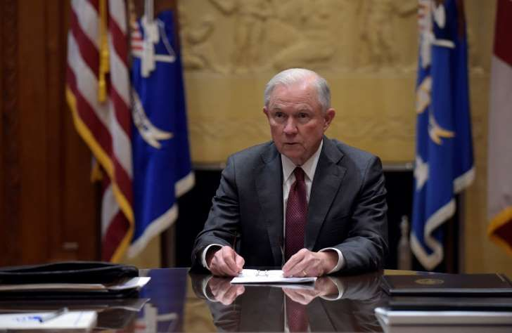 In this Feb. 9, 2017, file photo, Attorney General Jeff Sessions holds a meeting with the heads of federal law enforcement components at the Department of Justice in Washington.