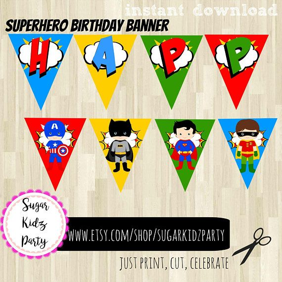70% superhero party, kids party, banner, superhero banner, happy birthday banner, printable, kids party, printables, kids party, decor,